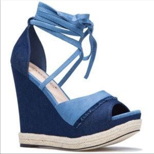 Denim lace up wedges size 6 brand new with box