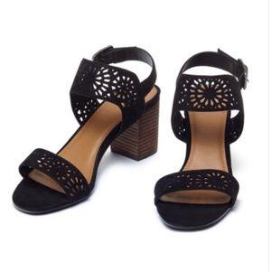 Perforated Low Heel Black Sandal