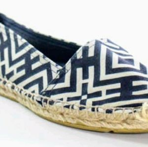 TORY BURCH NAVY CANVAS & WOVEN ESPADRILLES SHOES