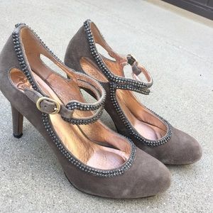 ANTHROPOLOGIE Miss Alright Gray Studded Heels