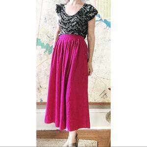 Raw Silk Side Button Midi Skirt