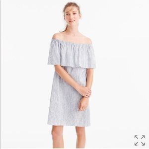 JCrew Striped Off-Shoulder Dress