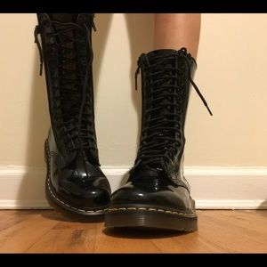 Dr. Marten Patent Leather 14 Eye Boots