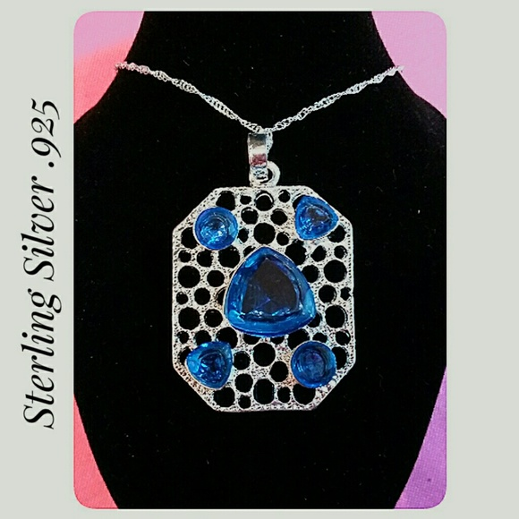 Jewelry - 3/$30 Stamped .925 Sterling Silver Blue Pendant