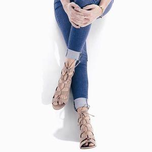 Tan Lace-Up Mid Heel Sandal