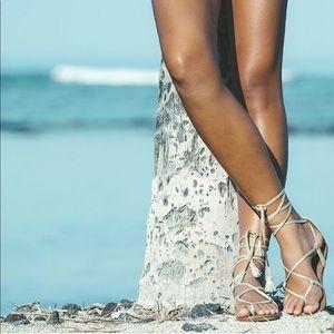 Rose Lace Up Gladiator Sandal