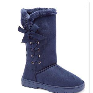Navy Corset Winter Boots