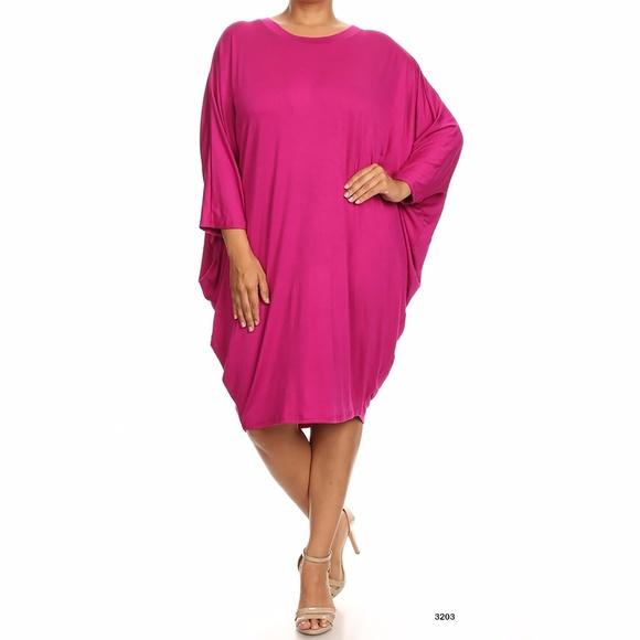 f57cf773276 Plus Size Women s Tunic Drape Midi Dress Pink