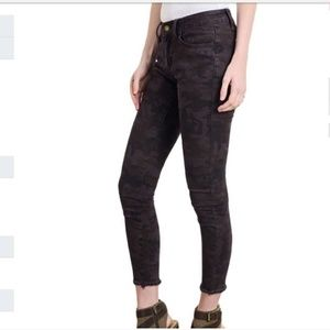 Denim - Distressed denim camouflage jeans