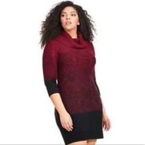 Studio one red ombré sweater dress NWT L