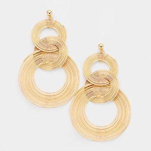 Jewelry - Triple Swirl Metal Hoop Earrings