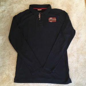 Navy blue long sleeve polo shirt