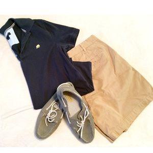 Banana Republic sz M navy blue polo mens shirt EUC