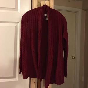 Deep Red Sweater Cardigan