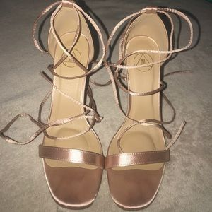 Lace-Up Barely There Satin Heels