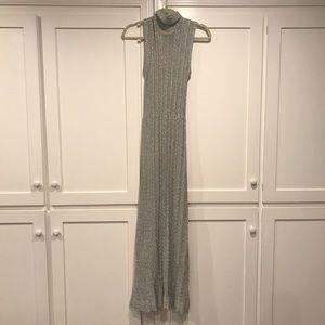Stunning metallic silver sweater dress/gown