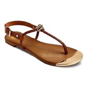 DV Dolce Vita Kensley Cognac gold toe sandals NEW!