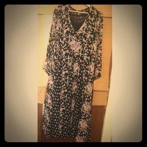 Vintage bohemian 90s flowy fall floral dress