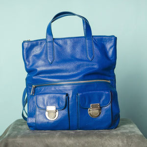 Fossil Riley Foldover Blue Leather Tote