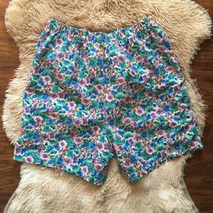 Vintage High Waisted Cotton Floral Shorts