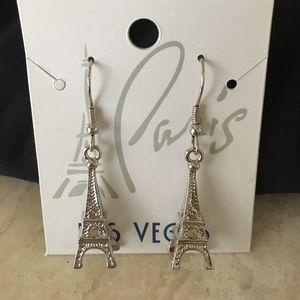 New Eiffel Tower Silver Pierced Earrings