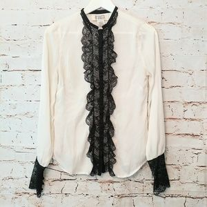 Victorian Now Style Blouse w/ Black Lace & Buttons