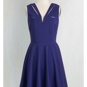 Modcloth blue v neck slit dress