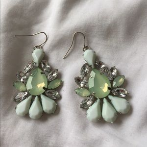 Mint Green Embellished Earrings