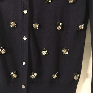 Ann Taylor Sweaters - Ann Taylor Navy blue knitted  jeweled Cardigan XS