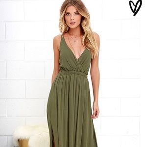 """Lulu's """"Olive Green Lost in Paradise"""" maxi dress"""