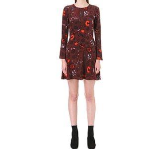 Sandro Sofia floral print silk dress