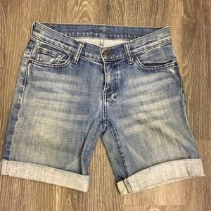7 for all mankind denim Bermuda shorts
