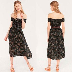 UO Kimchi Blue Black Floral Smocked Picnic Dress