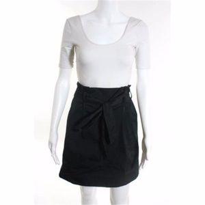 THEORY Black Tie Waist Tuck Pleat Skirt