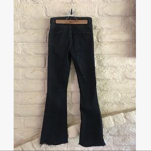 zara black kick flare raw crop bellbottom jeans