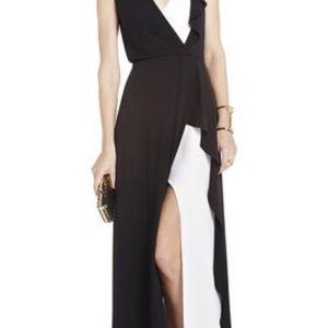 BcBg sheer v-neck dress.