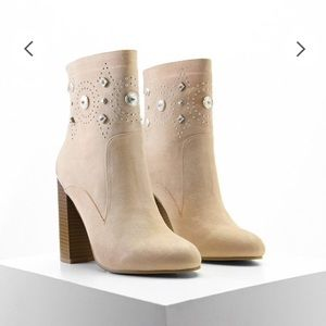 Faux Suede Embellished Bootie