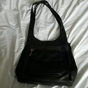 FOSSIL large black leather tote