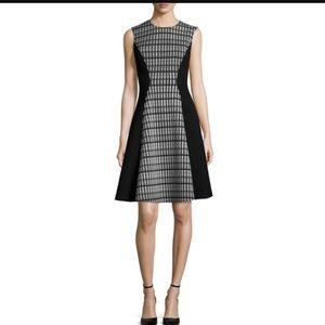 Lela Rose A-line seamed contrast dress