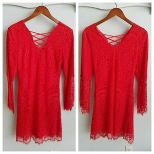 Sugar + Lips red lace bell sleeve dress XS nwt!