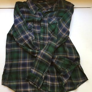 Green and Navy Plaid Button Up