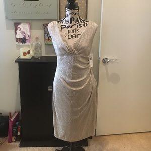 Ralph Lauren Essentials Gold Crinkle Sheath Dress