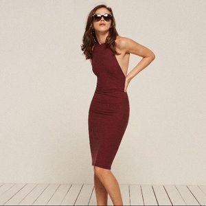 NWT Reformation Zee halter bodycon dress burgundy