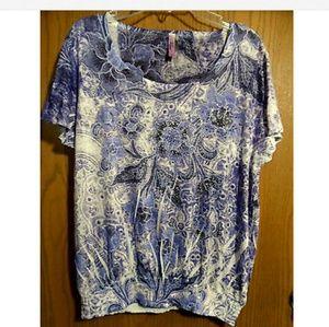 New KIRRA Rhinestone T-Shirt S Purple Smocked SS