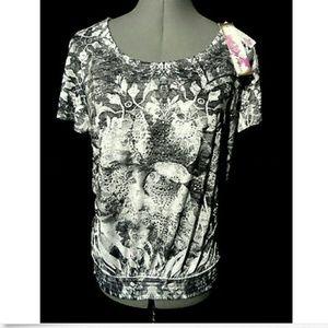 Nwt KIRRA Rhinestone T-Shirt XXL Silver Gray Top