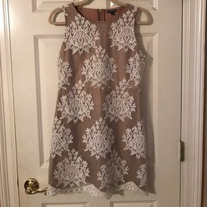 gianni bini nude dress with white lace detail
