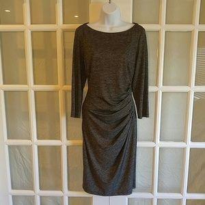Ralph Lauren Gray Midi Long Sleeve Dress