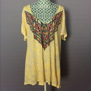 Torrid Yellow Tee with Boho Chic Pattern