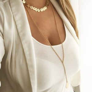 New York & Company hammered gold layered necklace