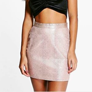 Metallic snake mini skirt
